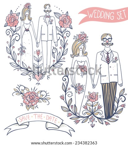 vector set  of hand drawn elements and pairs for wedding design - stock vector