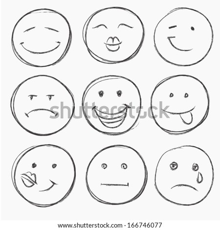 vector set of hand drawn faces, smiles isolated - stock vector