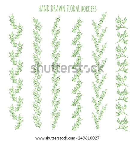 Vector set of hand drawn floral borders - stock vector