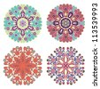 vector set of hand drawn floral pattern - stock vector