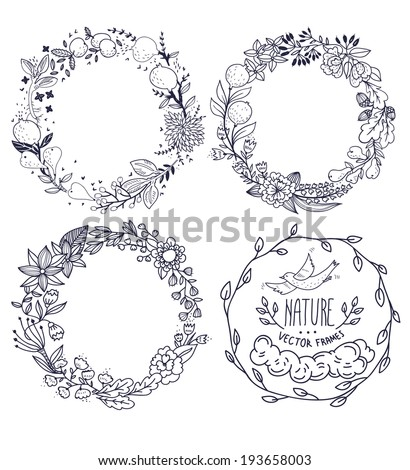 vector set of hand drawn floral wreathes - stock vector