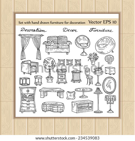 Vector set of hand drawn furniture for decoration. Sketches for use in design - stock vector