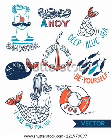 vector set of hand drawn nautical emblems - stock vector
