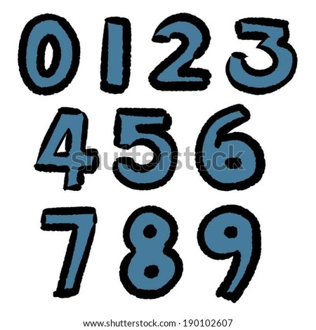 vector set of hand drawn number - stock vector