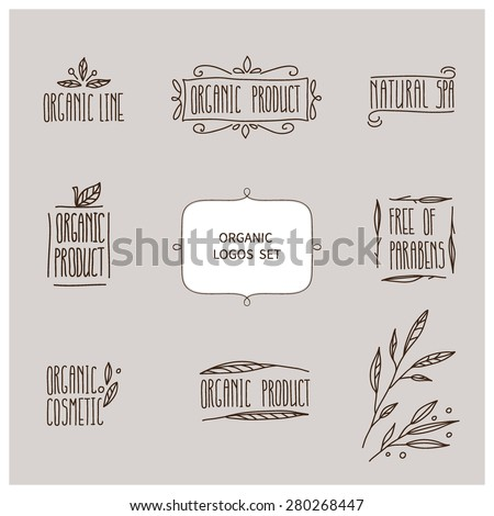vector set of hand drawn organic logos. It can be used for advertising, branding, label, sticker, poster, card. - stock vector