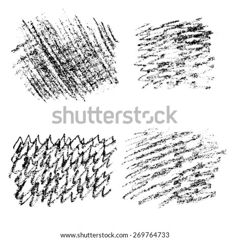 Vector set of hand drawn scratch elements, four grunge textures for your design - stock vector