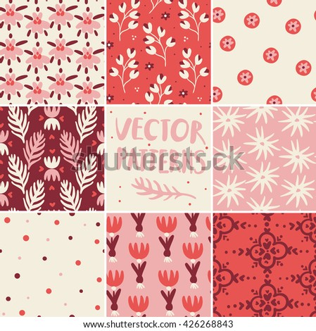 vector set of hand drawn seamless patterns - stock vector