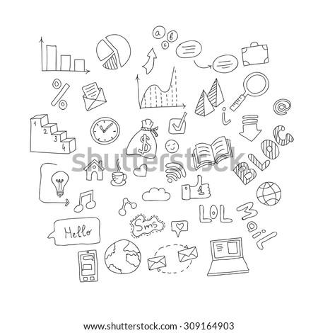 Vector set of hand drawn social doodles. - stock vector