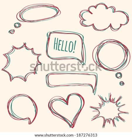 Vector set of hand-drawn speech bubbles - stock vector