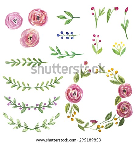 Vector set of hand drawn watercolor floral elements for design - stock vector