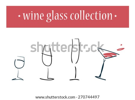Vector set of hand drawn wine glasses on white background. - stock vector