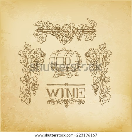 vector set of hand drawn wine list - stock vector