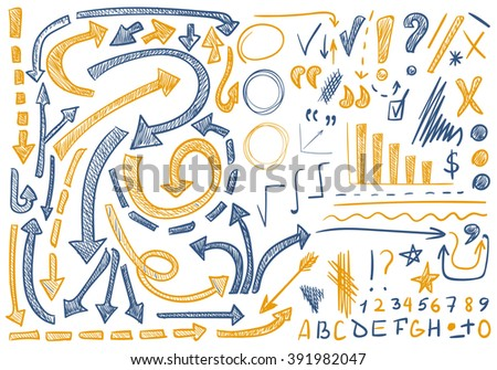 VECTOR set of hand-sketched icons. Elements for text correction or planning. Blue and yellow colors, pen drawings   - stock vector