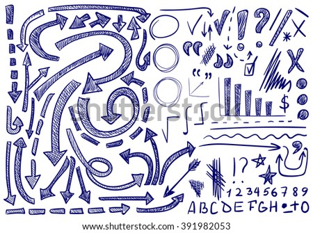 VECTOR set of hand-sketched icons. Elements for text correction or planning. Blue color. - stock vector