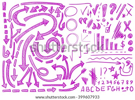 VECTOR set of hand-sketched icons. Elements for text correction or planning. Pink color, pen drawings   - stock vector