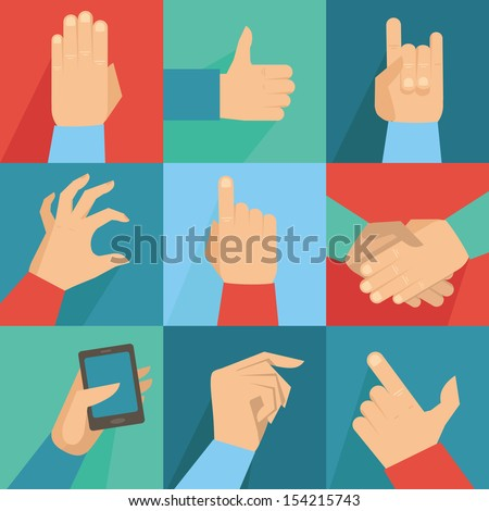 Vector set of hands and gestures in flat retro style - stock vector