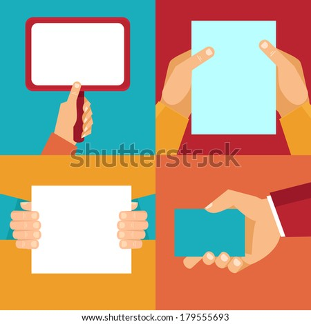 Vector set of hands holding blank documents and signs with copy space for text in flat style - stock vector