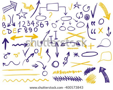 VECTOR set of handsketched icons. Elements for text correction or planning in purple and yellow colors. Hand-drawn arrows. - stock vector