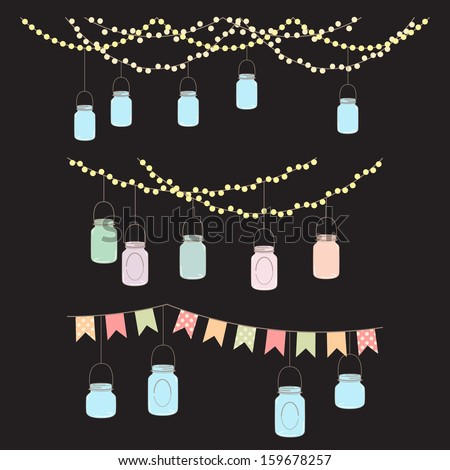 Vector Set of Hanging Glass Jar Lights and Bunting - stock vector