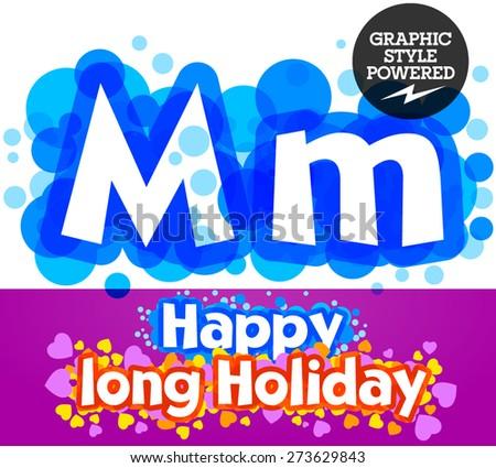 Vector set of happy festive motley alphabet. Letter M - stock vector