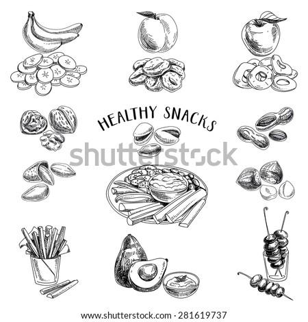 Vector set of healthy snacks. Healthy food. Vector illustration in sketch style. Hand drawn design elements. - stock vector