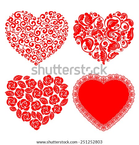Vector set of hearts. Beautiful design element for Valentines day. - stock vector