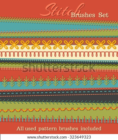 Vector set of high detailed stitch brushes. Sewing design elements, seams, textile borders, decorations and dividers on textile background. All used pattern brushes included. - stock vector