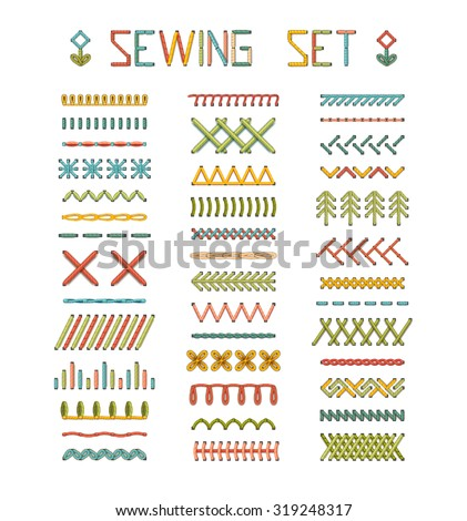 Vector set of high detailed stitches and seams. Various sewing design elements isolated on white background. All used pattern brushes included. - stock vector