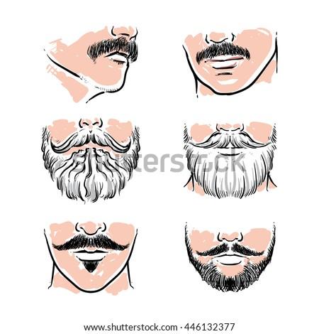 Vector set of hipster mustache. Hand drawn beards vector illustration. - stock vector