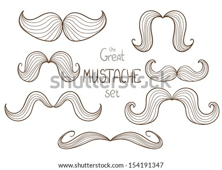 Vector set of hipster mustache in line art. - stock vector