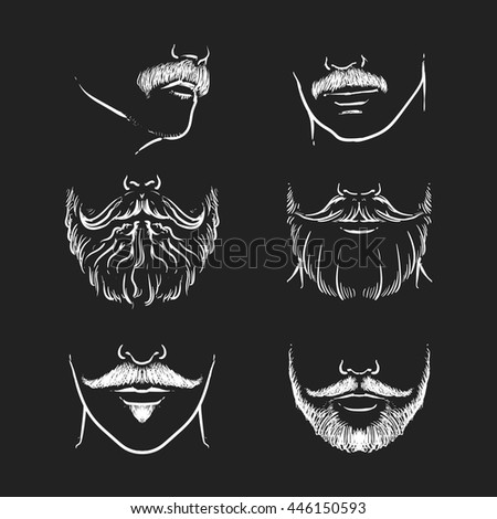 Vector set of hipster mustache on a black background. Hand drawn beards outline vector illustration. - stock vector