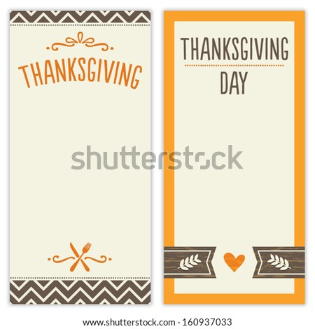 Vector set of hipster Thanksgiving Day backgrounds in brown and orange. Great for menu, invitation or shopping list templates. - stock vector