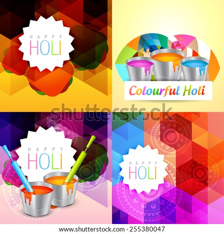 vector set of holi background with colorful paint bucket illustration - stock vector