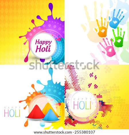 vector set of holi background with different colors  - stock vector