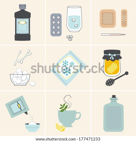 Vector Set of Home Medical Remedies - stock vector