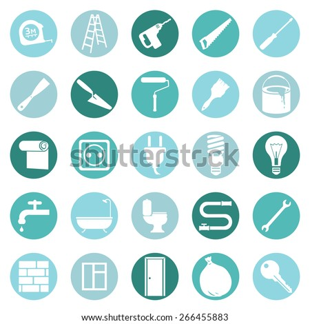 Vector Set of Home Repairing, Building, Construction and Decoration Icons - stock vector