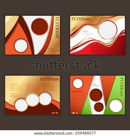 Vector set of horizontal flyers for design . Editable A4 poster for business, magazine cover. - stock vector