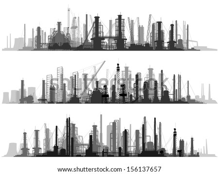 Vector set of horizontal illustration: industrial part of city with factories, refineries and power plants. - stock vector