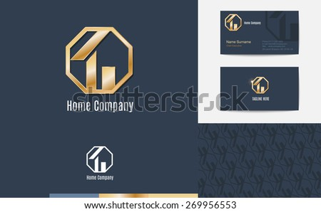 Vector : Set of House business logo, business card and pattern for background,Branding identity design, real estate concept - stock vector