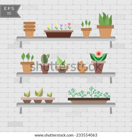 vector set of house plants in pots on the shelves on the bright background of brick wall - stock vector
