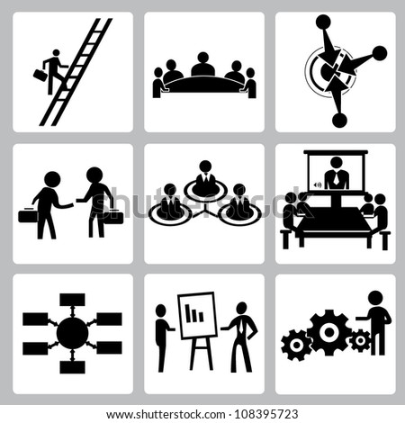vector set of human resource, personal development icon set - stock vector