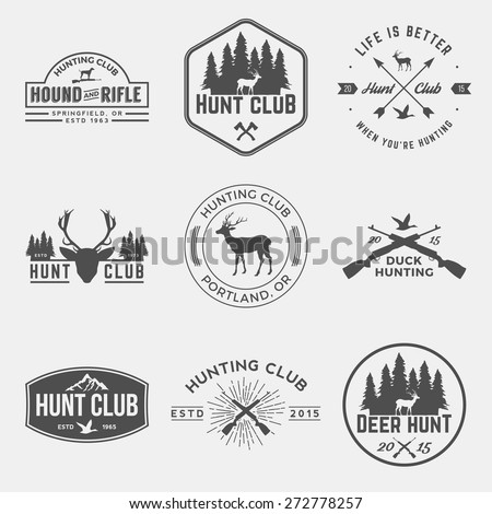 vector set of hunting club labels, badges and design elements - stock vector