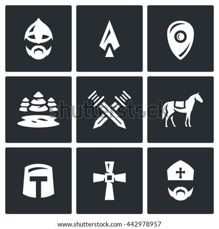 Vector Set of Ice Battle Icons. Warrior, Spear, Shield, Lake, Forest, Crossed, Swords, Knight, Crusader, Cross, Priest.  - stock vector