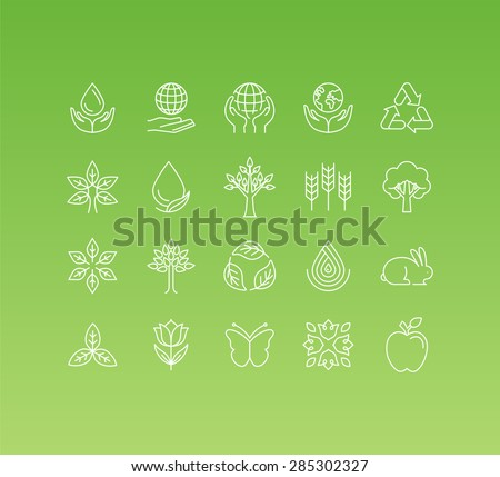 Vector set of 20 icons and sign in mono line style - concepts related to ecology and environment, thinking green and caring about the planet and nature - stock vector