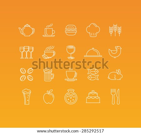 Vector set of 20 icons and sign in mono line style - concepts related to food and drinks, cafe and restaurants pictograms