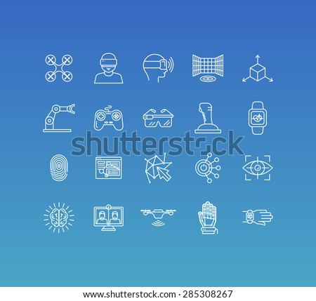 Vector set of 20 icons and sign in mono line style - concepts related to virtual and augmented reality and new technologies, innovative apps and gadgets - stock vector