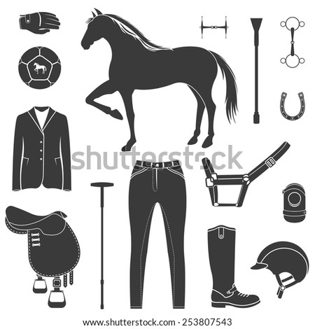 Vector set of icons and symbols for sports games polo. Silhouettes of horses and equipment player - stock vector. - stock vector