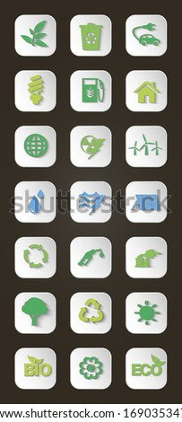 Vector set of icons concerning to ecology, energy and recycling industries themes. Shadows are editable - stock vector