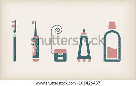 Vector set of icons for mouth care - stock vector