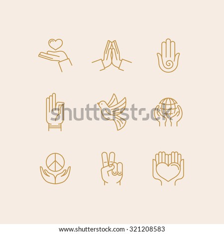 Vector set of icons in trendy linear style related to religion and peace - hands and fingers - stock vector